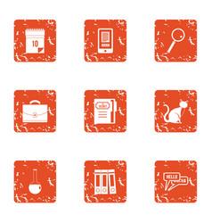 Language interpreter icons set grunge style vector