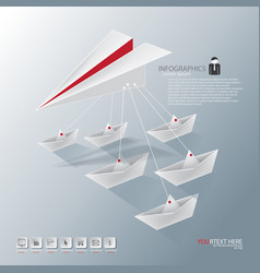 Leader paper plane with boat vector
