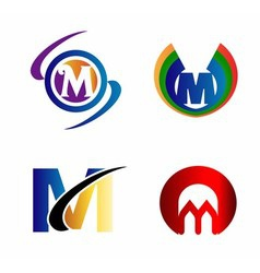 Letter M logo Icons Set Graphic Design vector image