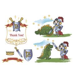 little king dragon cartoon clipart color vector image