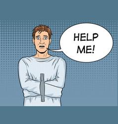man in straitjacket pop art vector image