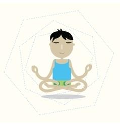Man sitting cross-legged meditating vector