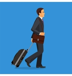 Man with suitcase is going in airport terminal vector