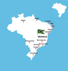 Map brazil country geography cartography vector