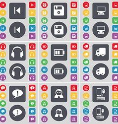 Media skip Floppy Monitor Headphones Battery Truck vector image