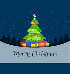merry christmas decorated christmas tree with vector image