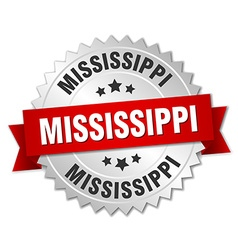Mississippi round silver badge with red ribbon vector