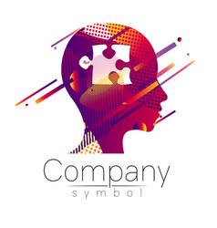 modern head logo of company brand profile human vector image