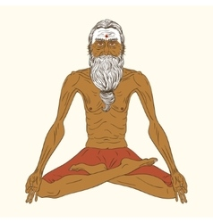 Old indian yogi man vector