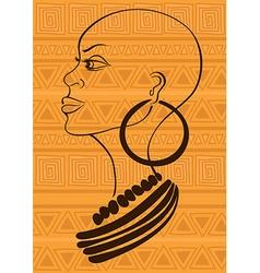 Outline portrait of beautiful African tribal girl vector