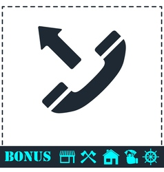 Phone call outgoing icon flat vector