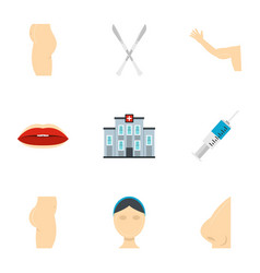 Plastic surgery icon set flat style vector