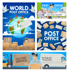post office mail delivery postman service vector image