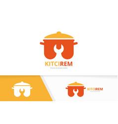 Pot and repair logo combination kitchen vector
