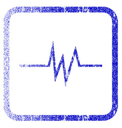 pulse signal framed textured icon vector image