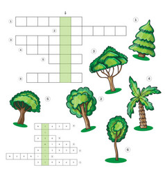 Puzzle kids activity sheet - crossword with trees vector