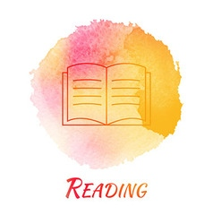 Reading book watercolor concept vector
