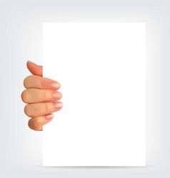 realistic 3d silhouette of hand with white paper vector image