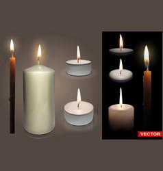 Realistic tealight wax candles set vector