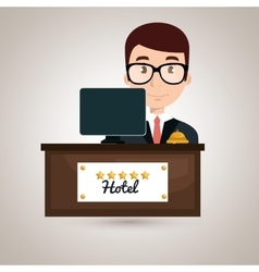 reception hotel employee icon vector image