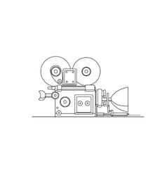 Retro cinema film camera lineart vector image