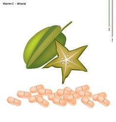 Ripe Carambolas with Vitamin C on White Background vector