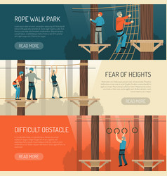 Rope walk activity horizontal banners vector