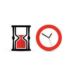 Sandclock and clock icons time symbol isolated on vector