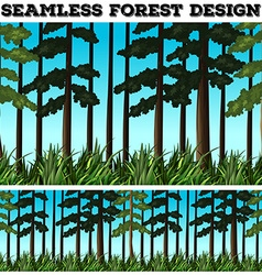 Seamless background design with forest vector image