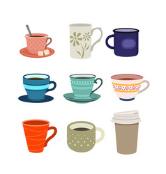 Set cups flat design style vector