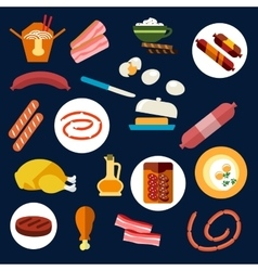Set of flat food and meat icons vector