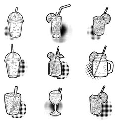 Set of hand drawn cocktail icons design elements vector