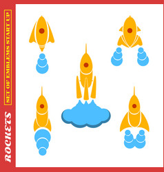 set of rockets for a startup on a white background vector image