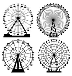 set of silhouettes ferris wheel vector image
