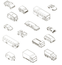 set with contours different cars in isometric vector image