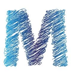 Sketched letter M vector