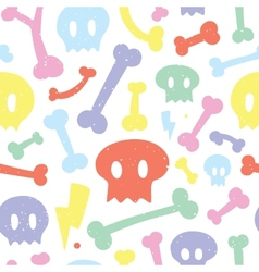 Skulls and bones white pattern vector