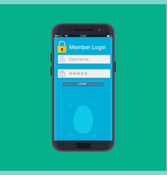 smartphone unlocked by fingerprint sensor vector image