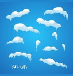 snow ice caps snowballs snowdrifts set vector image