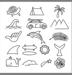 Summer beach surf icon set in line art style vector