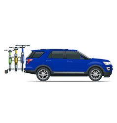 suv car is transporting bicycles loaded on the vector image