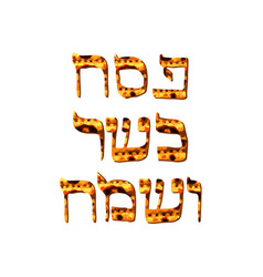 Texture matzo inscription pesach kosher sameah vector