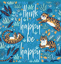 Think happy be happy quote print with vector
