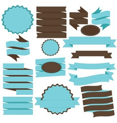 Tiffany Blue and Brown Banner and Ribbons vector
