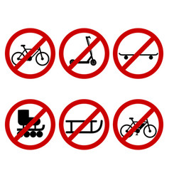 Traffic prohibition sign for various sports vector