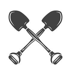 Two crossed shovels Black on white flat logo vector image