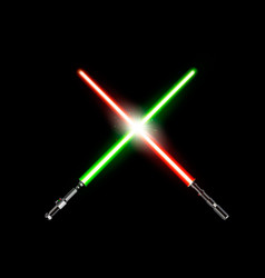 two realistic light swords crossed green and red vector image