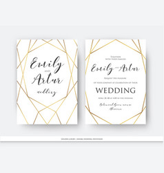 Wedding double invitation save the date card vector