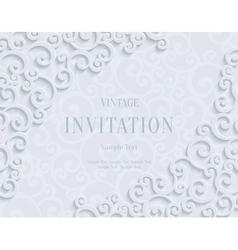 white 3d vintage invitation card vector image