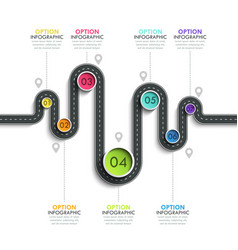 Winding road way location infographic template vector